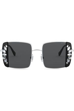 Miu Miu Women Square - Noir crystal-embellished square-frame sunglasses