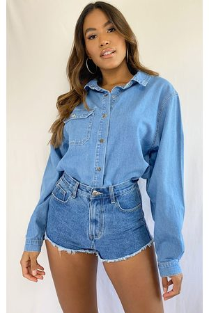 PRETTYLITTLETHING Light Wash Popper Denim Shirt
