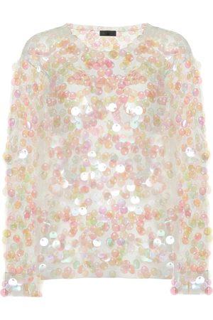 DRIES VAN NOTEN Sequined knitted mesh top
