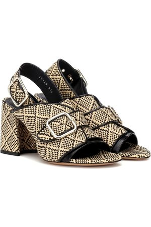 DRIES VAN NOTEN Raffia leather-trimmed sandals