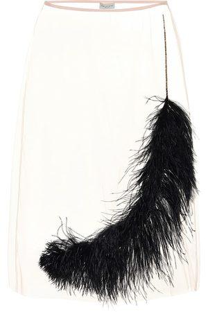 DRIES VAN NOTEN Feather-trimmed tulle midi skirt