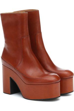 DRIES VAN NOTEN Leather platform ankle boots