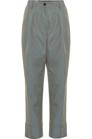 DRIES VAN NOTEN Cotton-blend high-rise pants