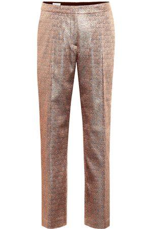 DRIES VAN NOTEN Metallic mid-rise straight-leg pants
