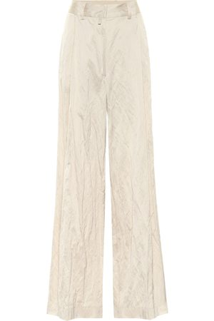 DRIES VAN NOTEN Satin high-rise wide-leg pants