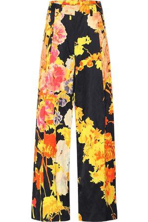 DRIES VAN NOTEN Floral high-rise wide-leg pants