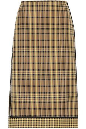DRIES VAN NOTEN Checked cotton and silk skirt
