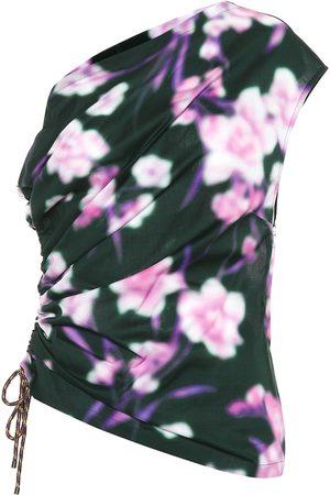 DRIES VAN NOTEN One-shoulder floral cotton top