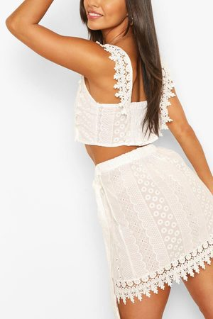 Boohoo Womens Brodeire Lace Tie Back Top & Wrap Mini Skirt Co-Ord - - 2