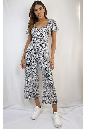 PRETTYLITTLETHING Dalmatian Short Puff Sleeve Culotte Jumpsuit