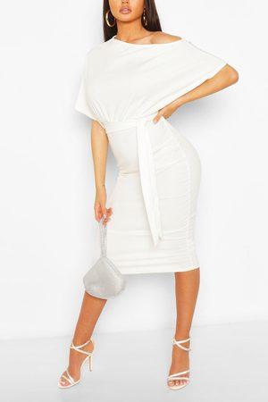 Boohoo Womens Batwing Ruched Side Midi Dress - - 4