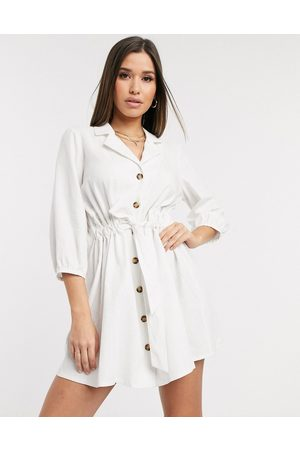 ASOS Button through mini shirt dress with ruched waist in linen in