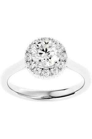 SuperJeweler 1 1/3 Carat Halo Moissanite Engagement Ring in 14K (4 g)