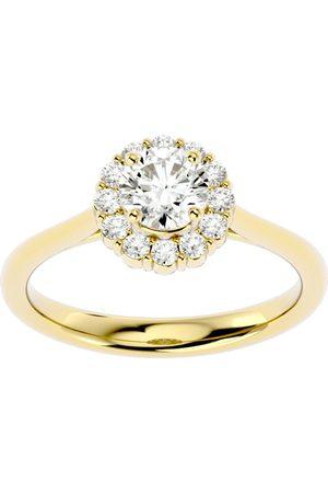 SuperJeweler 1 Carat Halo Moissanite Engagement Ring in 14K (3.80 g)