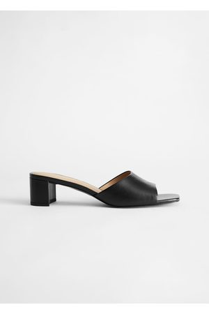 & OTHER STORIES Heeled Leather Square Toe Sandal
