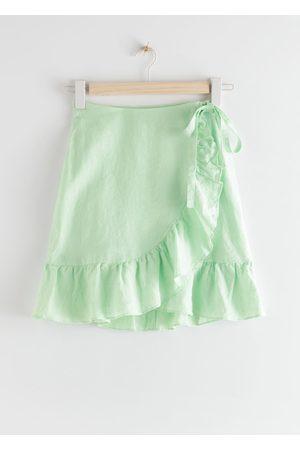 & OTHER STORIES Ruffled Linen Wrap Mini Skirt