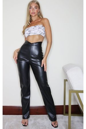 PRETTYLITTLETHING Faux Leather V Waist Pants