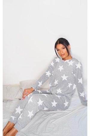PRETTYLITTLETHING Grey and White Star Print Long PJ Set