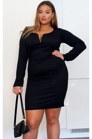 PRETTYLITTLETHING Plus Long Sleeve V Bar Plunge Bodycon Dress
