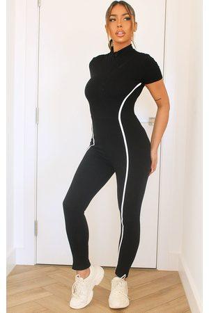 PRETTYLITTLETHING Sports Stripe Short Sleeve Jumpsuit