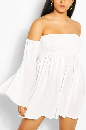 Boohoo Womens Plus Shired Off Shoulder Wide Sleeve Shift Dress - - 12