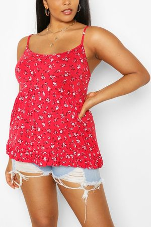 Boohoo Womens Plus Ditsy Floral Tiered Smock Cami - 12