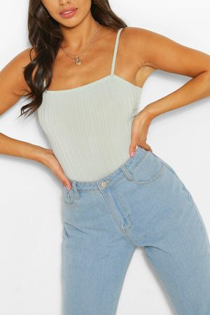 Boohoo Womens Petite Ribbed Tie Back One Piece - - 2