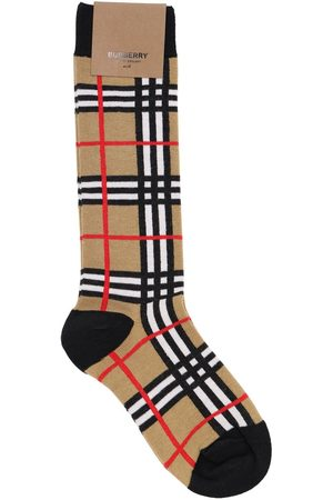 Burberry Check Cotton Blend Knit Socks