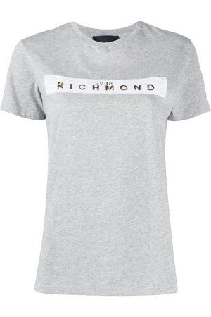 John Richmond Sequinned logo T-shirt - Grey