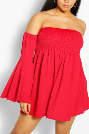 Boohoo Womens Plus Shired Off Shoulder Wide Sleeve Shift Dress - 12