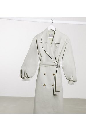 ASOS ASOS DESIGN Maternity extreme balloon sleeve trench coat in sage