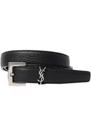 Saint Laurent 2cm Monogram Grained Leather Belt
