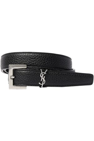 Saint Laurent Men Belts - 20mm Monogram Grained Leather Belt