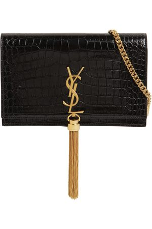 Saint Laurent Kate Croc Embossed Leather Chain Wallet