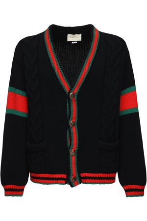 Gucci Men Cardigans - Wool Knit Cardigan W/ Web Detail