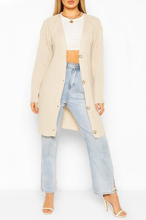 Boohoo Womens Ribbed Button Through Cardigan - - S