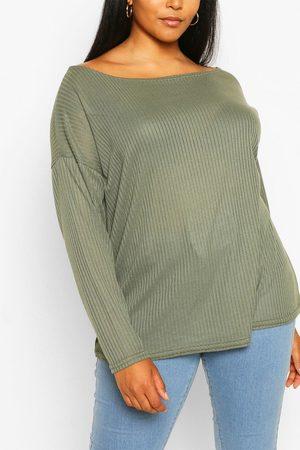 Boohoo Womens Plus Oversized Rib Long Sleeve T-Shirt - - 12