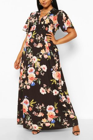 Boohoo Women Printed Dresses - Womens Plus Dark Floral Ruffle V-Neck Maxi Dress - - 12