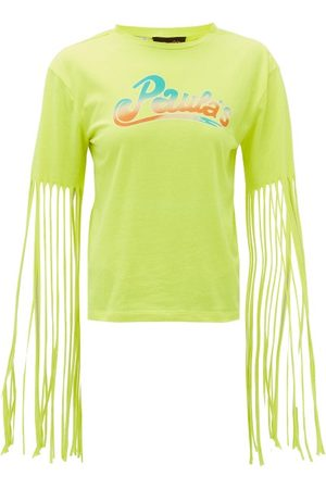 Loewe Paula's Ibiza Women Short Sleeve - Fringed Logo-print Jersey T-shirt - Womens
