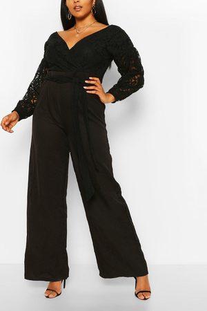 Boohoo Women Jumpsuits - Womens Plus Lace Off The Shoulder Wide Leg Jumpsuit - - 12