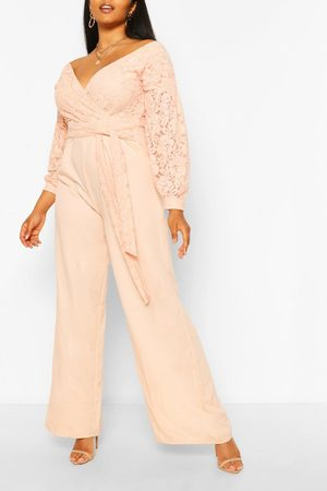 Boohoo Womens Plus Lace Off The Shoulder Wide Leg Jumpsuit - - 12