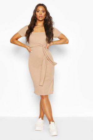 Boohoo Womens Rib Square Neck Belted Midi Dress - - 4