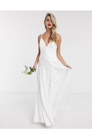 ASOS Paige satin plunge wedding dress with cross back