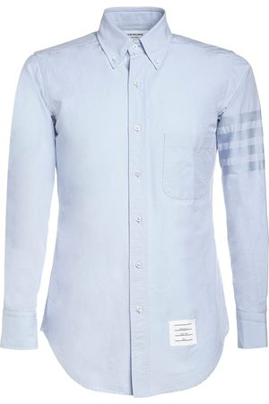 Thom Browne Men Shirts - Cotton Oxford Shirt W/ Satin 4 Bar