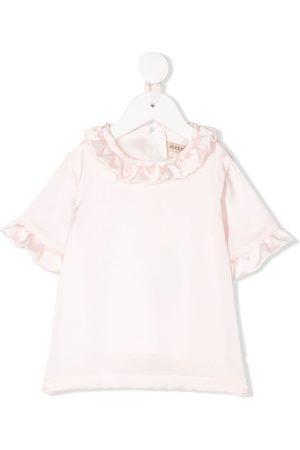 HUCKLEBONES LONDON Girls Short Sleeve - Ruffled-detail short-sleeved top