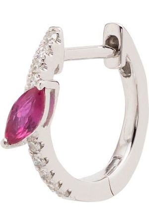Roxanne First 14kt diamond and pink sapphire marquise hoop earring