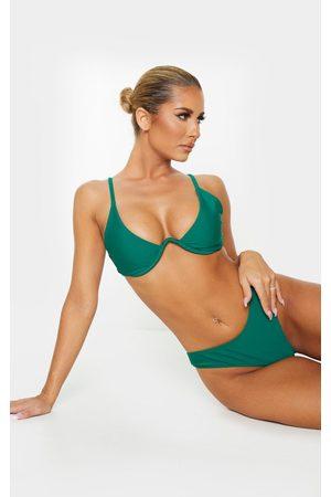 PRETTYLITTLETHING Emerald Underwired Plunge Bikini Top