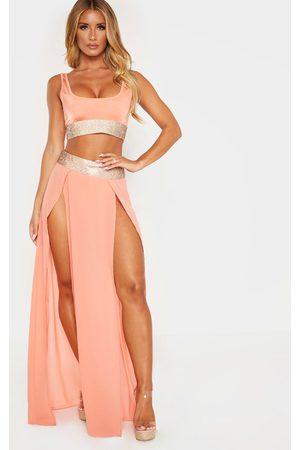 PRETTYLITTLETHING Peach Diamante Waist Split Beach Skirt