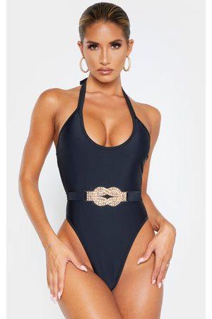 PRETTYLITTLETHING Diamante Twist Trim Belted Swimsuit
