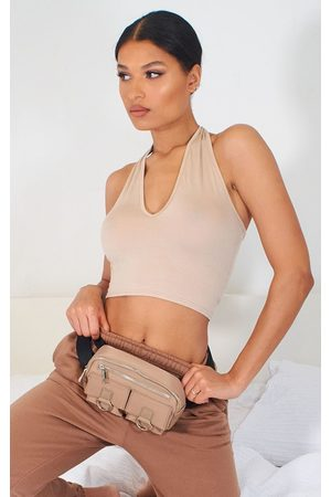 PRETTYLITTLETHING Stone Basic Halterneck Crop Top
